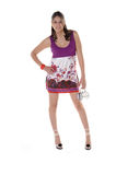 Latina In Purple Dress Royalty Free Stock Photo