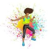 Latina som dansar Zumba stock illustrationer