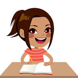 Latina Student Girl Writing Stock Image