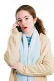 Latina Tween on Cellphone Royalty Free Stock Image