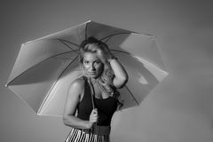 Latina With Umbrella Black and White Royalty Free Stock Images