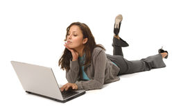 Latina woman with laptop Stock Image