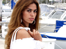 Latina Women 809. Close up headshot of Latina Woman at marina with purse Royalty Free Stock Photography