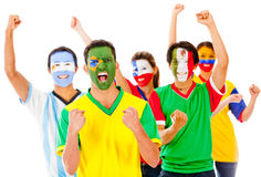 Latinamerican group celebrating Royalty Free Stock Image