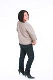 latinamerikan som ser över skulderkvinna Fotografering för Bildbyråer