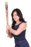 Latinamerikansk affärskvinna med baseballslagträet i händer Arkivfoto