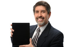 Latinamerikansk affärsman With Electronic Tablet Royaltyfri Bild