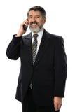 Latinamerikansk affärsman Using Phone Arkivbild