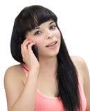 Latinamerikansk flicka på telefonen Arkivfoton