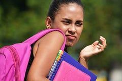 Latinamerikansk flickastudent And Confusion Royaltyfri Foto
