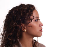latinamerikanskt barn för ståendeprofilkvinna Arkivbild