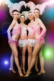 Latino ball dancers. Four young women latino dancers on black with light rendering Stock Images