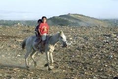Latino boys riding on horseback on Dustbin Stock Images