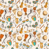 Latino card. Latino musical pattern. Pattern of latino musical instruments. Latino background can be used as invitation card for wedding, birthday and other Stock Images