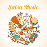 Latino card. Salsa musical card. Invitation of latino musical instruments. Latino background can be used as invitation card for wedding, birthday and other Stock Images