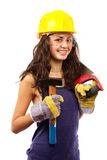 Latino construction lady Stock Images