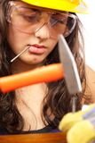 Latino construction lady Stock Image