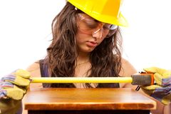 Latino construction lady Royalty Free Stock Photo