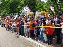 Latino Crowd at the White House Royalty Free Stock Photos