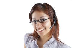 Latino Customer Service Woman with Headset Stock Images