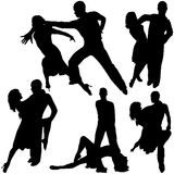 Latino Dance Silhouettes Royalty Free Stock Image