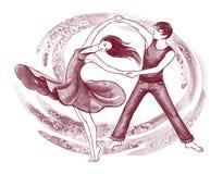 Latino dancers. Handdrawn illustration of young man and woman dancing latino Royalty Free Stock Photos