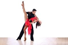 Latino dancers in ballroom Stock Photos