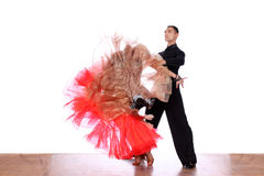 Latino dancers in ballroom Royalty Free Stock Photo