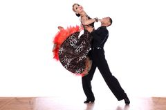 Latino dancers in ballroom against white background. The Latino dancers in ballroom against white background Royalty Free Stock Photography