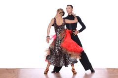 Latino dancers in ballroom against white background Royalty Free Stock Images