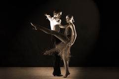Latino dancers in ballroom isolated on black Royalty Free Stock Photography