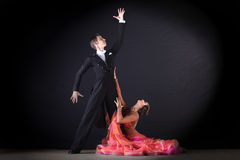 Latino dancers in ballroom Stock Images