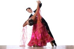 Latino dancers in ballroom Royalty Free Stock Photo