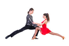 Latino dancers posing. Isolated. Royalty Free Stock Photography