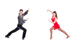 Latino dancers posing. Isolated. Stock Photo