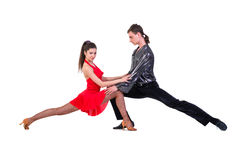 Latino dancers posing. Isolated Stock Images