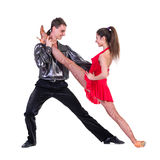 Latino dancers posing. Isolated Royalty Free Stock Image
