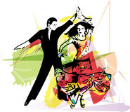 Latino Dancing couple. Abstract illustration of Latino Dancing couple Stock Photography