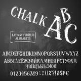 Latino di ABC del gesso e stile di ir del cirillico retro immagine stock