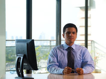 Latino Executive Corner Office Window Royalty Free Stock Photography