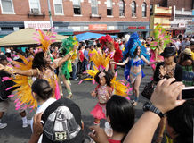 Latino Festival Parade in Mount Pleasant. Photo of women dressed in bright colors at the parade at the latino festival in mount pleasant of washington dc on 9/26 Royalty Free Stock Photos