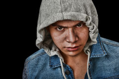 Latino Gang Member. Very striking Image of a very angry latino Youth Stock Photography