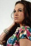 Latino Headshot. An isolated headshot of a beautiful latino woman royalty free stock photos