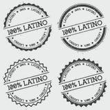 100% Latino insigneszegel op wit wordt geïsoleerd dat Royalty-vrije Stock Foto's