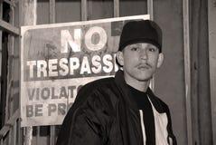 Latino Jongen - Zwart-wit Portret Royalty-vrije Stock Afbeeldingen