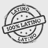 Latino 100% Latino rubber stamp isolated on white. Latino 100% Latino rubber stamp isolated on white background. Grunge round seal with text, ink texture and Royalty Free Stock Photos