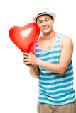 Latino lover with heart love balloon Stock Photo