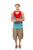 Latino lover with heart love balloon Stock Image