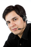 Latino man  as a call service rep Royalty Free Stock Photography