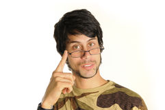 Latino man with eyeglasses Royalty Free Stock Photos